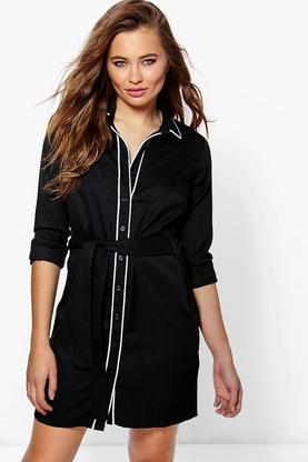 Hayley Contrast Tipped Shirt Dress