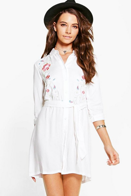 Carolina Embroidered Shirt Dress