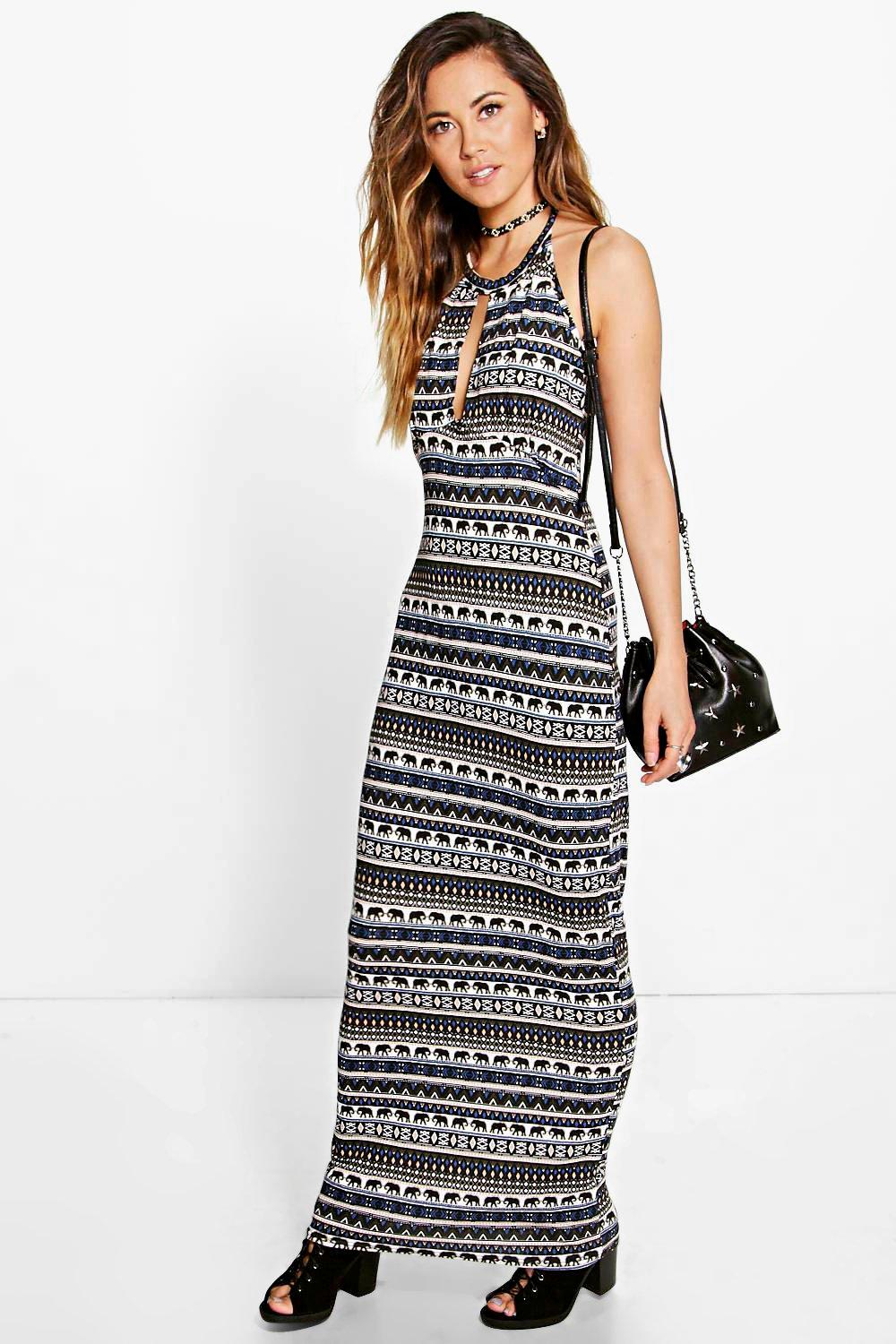 Carrie Elephant Printed Halter Neck Dress
