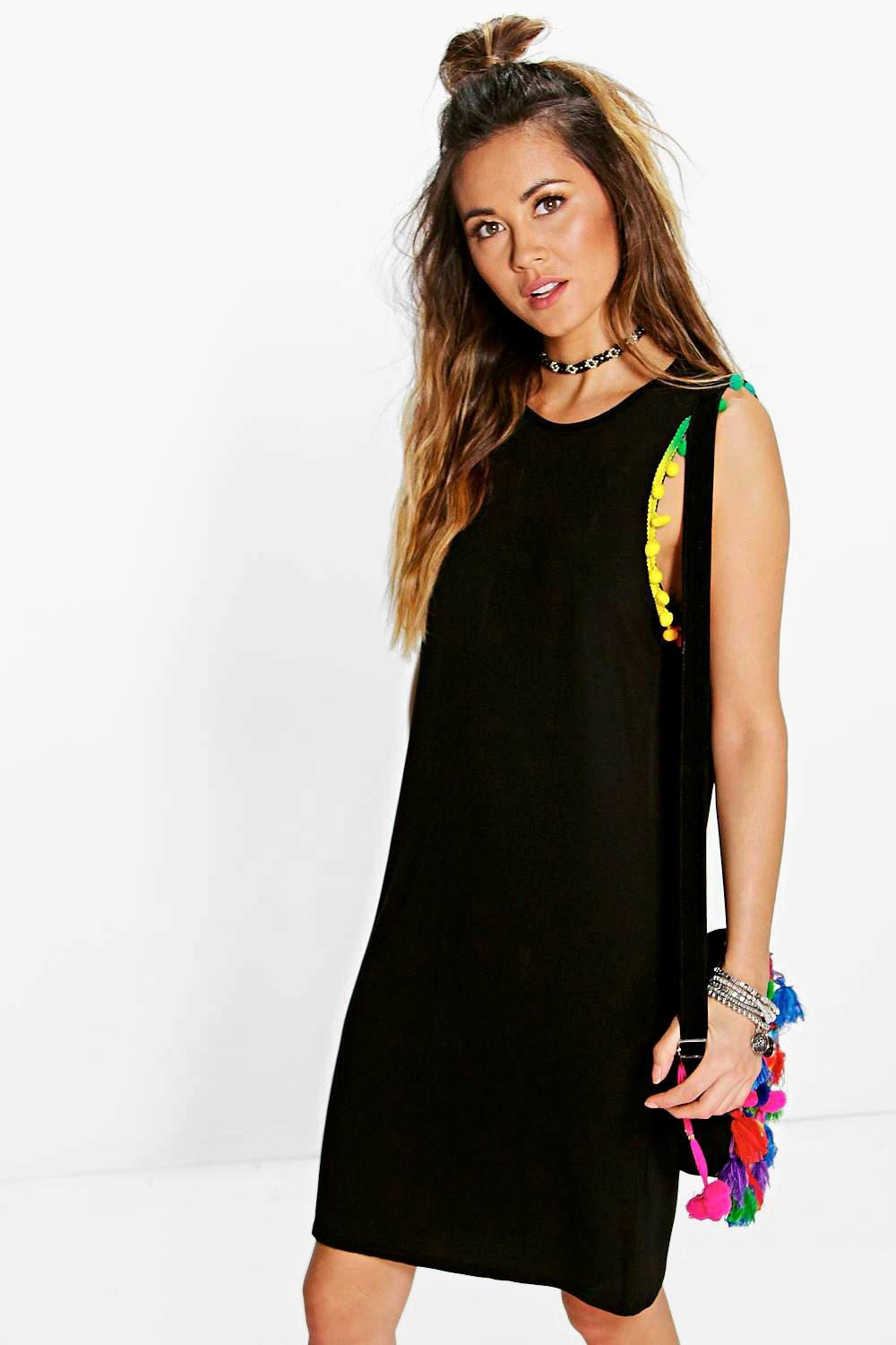 Black t shirt dress ebay - Boohoo Womens Karie Multi Coloured Pom Pom T