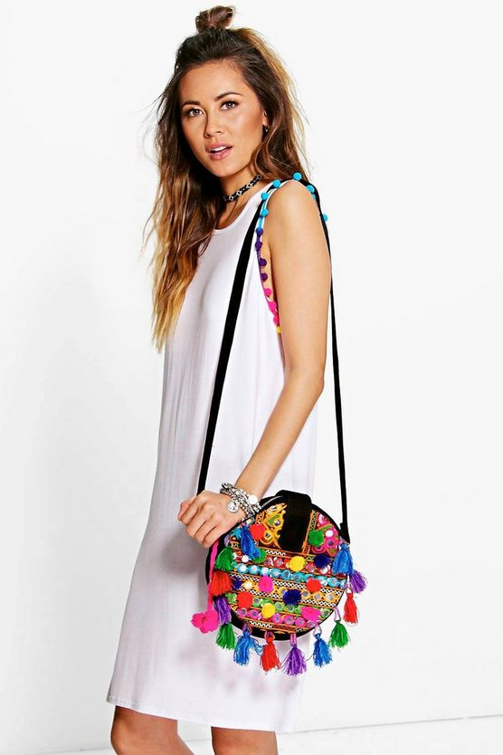 Karie Multi Coloured Pom Pom T-Shirt Dress