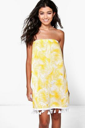 Arabella Tropical Print Tassel Bandeau Dress