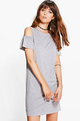 Mia Ruffle Sleeve Cold Shoulder Dress