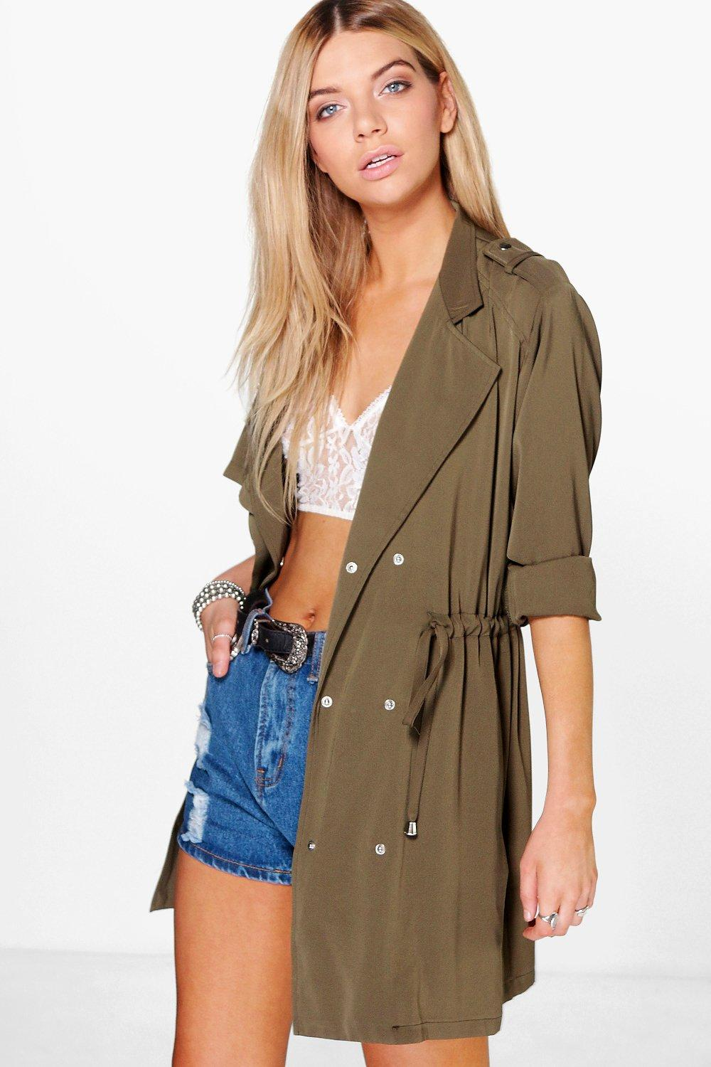 Faye Fluid Double Breasted Drawstring Trench