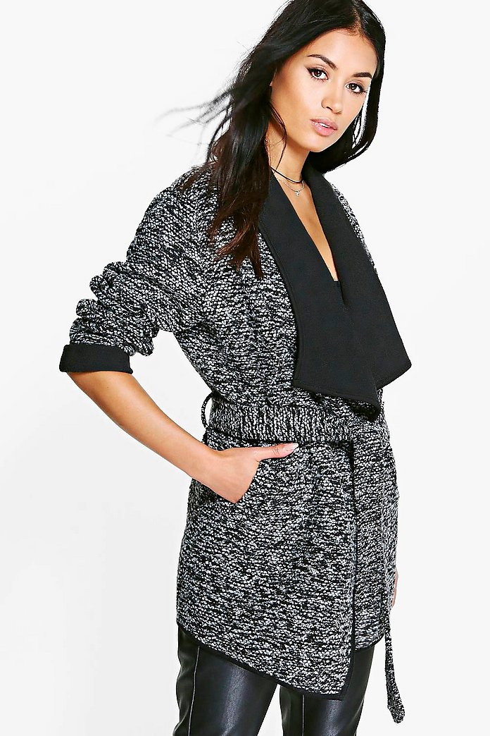 Lillie Belted Boucle Waterfall Coat