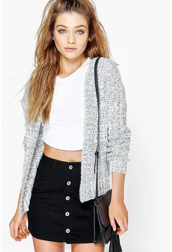 Amy Cable Knit Edge To Edge Boyfriend Cardigan