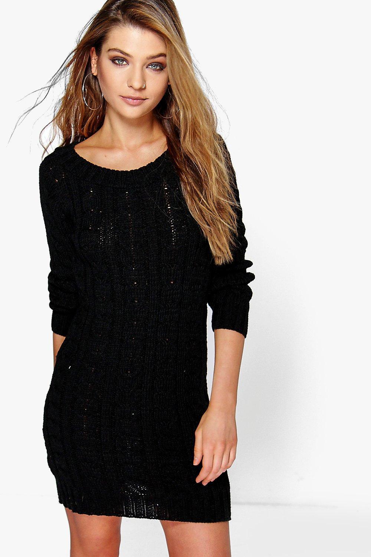 Cable Knit Mini Dress  black
