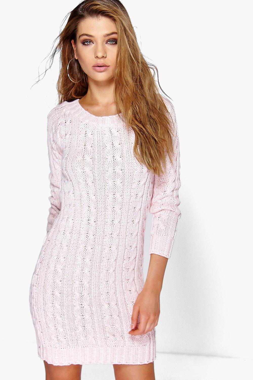 Cable Knit Mini Dress  rose