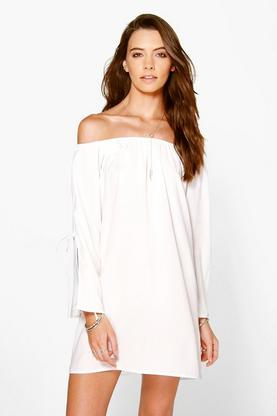 Beatrix Off The Shoulder Flare Sleeve Shift Dress