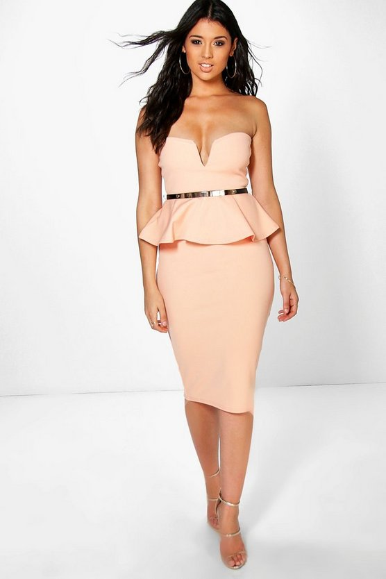 Theresa Bandeau Belted Peplum Midi Dress