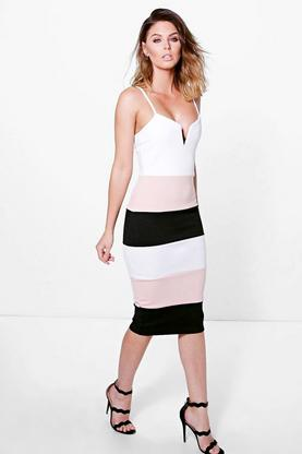 Emmeline Strappy Plunge Colour Block Midi Dress