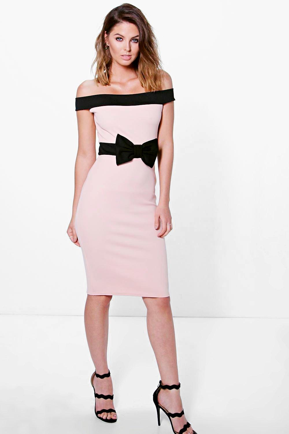 Pia Contrast Off The Shoulder Bow Waist Midi Dress