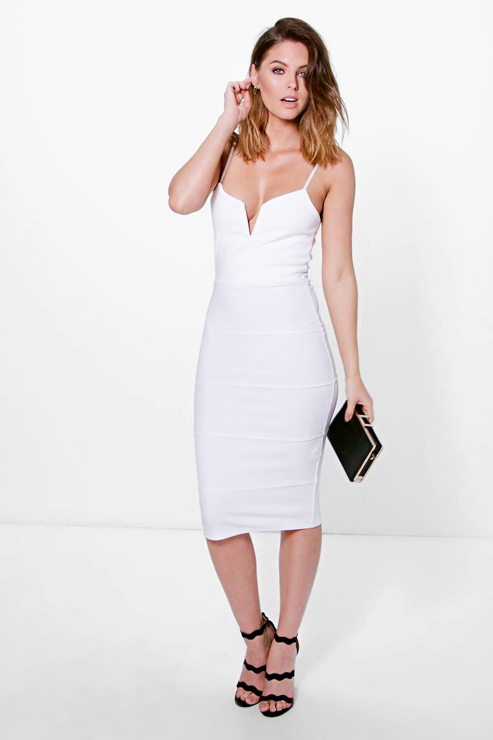 Karrueche Strappy Plunge Bandage Midi Dress