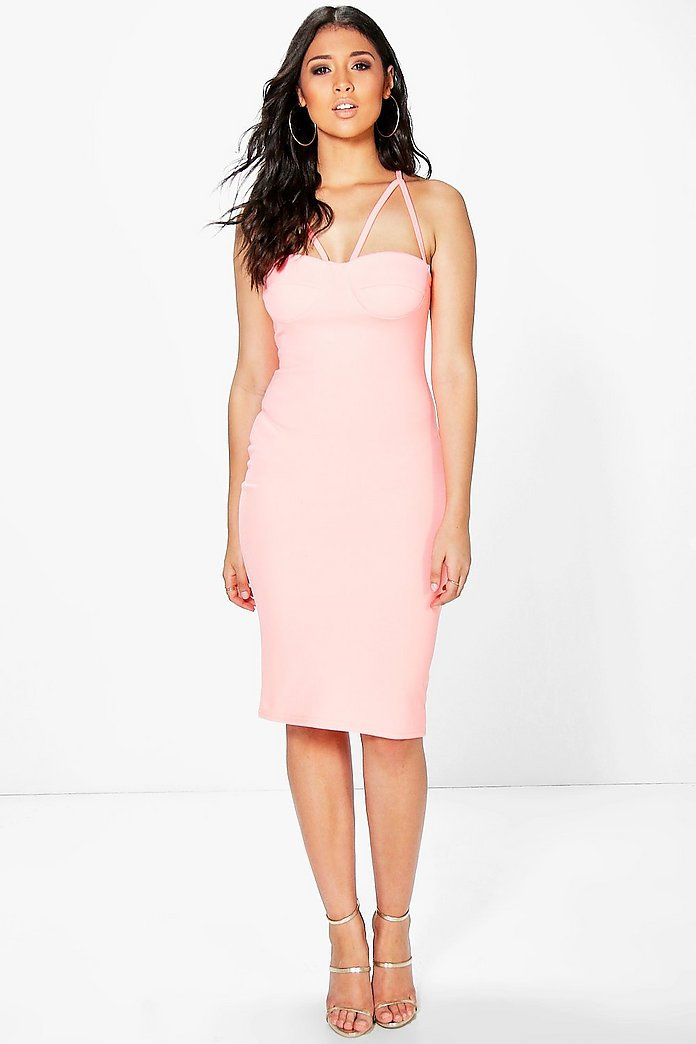 Angharad Strappy Bustier Midi Bodycon Dress