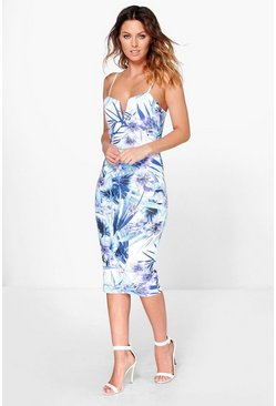 Carmella V Neck Tropical Print Midi Dress