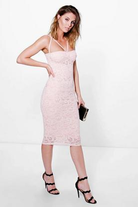 Kimberley Strappy Bodice Lace Midi Dress