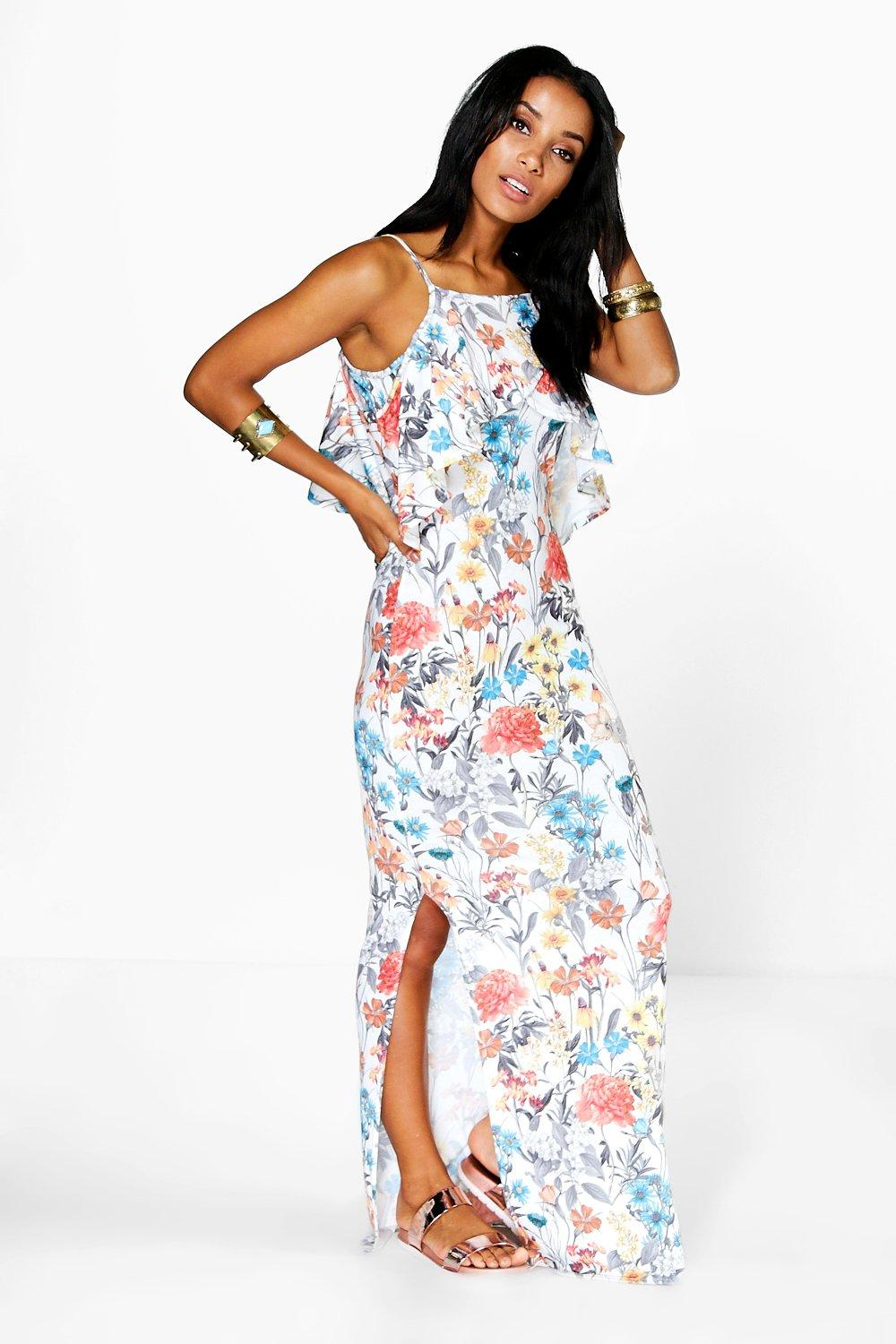 Lola Ruffle Front Strappy Maxi Dress