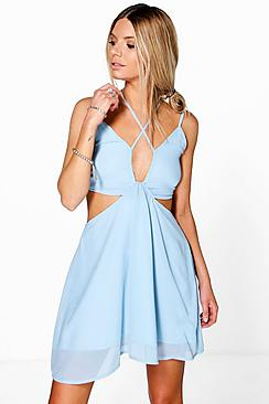 Ella Strappy Plunge Front Open Back Skater Dress