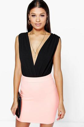 Ariah Neon Crepe Mini Skirt