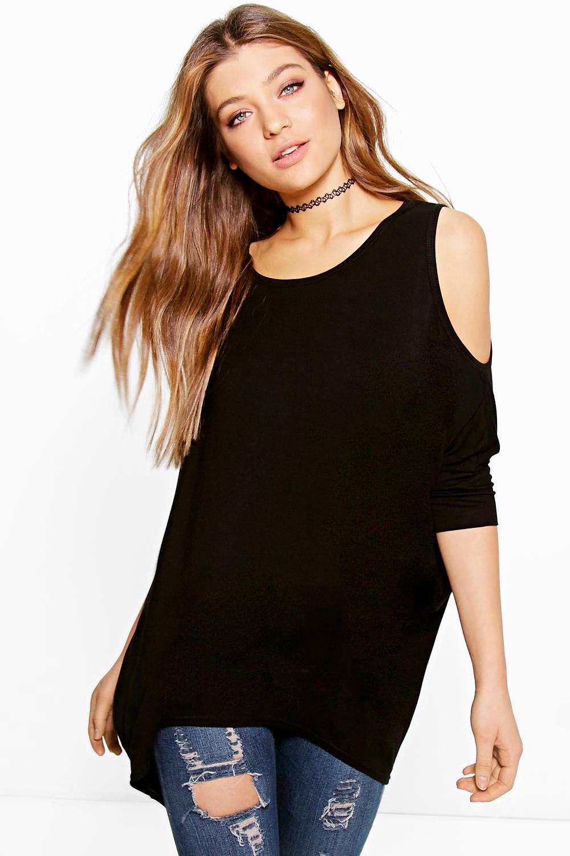 boohoo womens anna cold shoulder oversized t shirt ebay. Black Bedroom Furniture Sets. Home Design Ideas