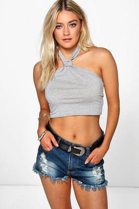 Ona Knotted Halter Crop Top