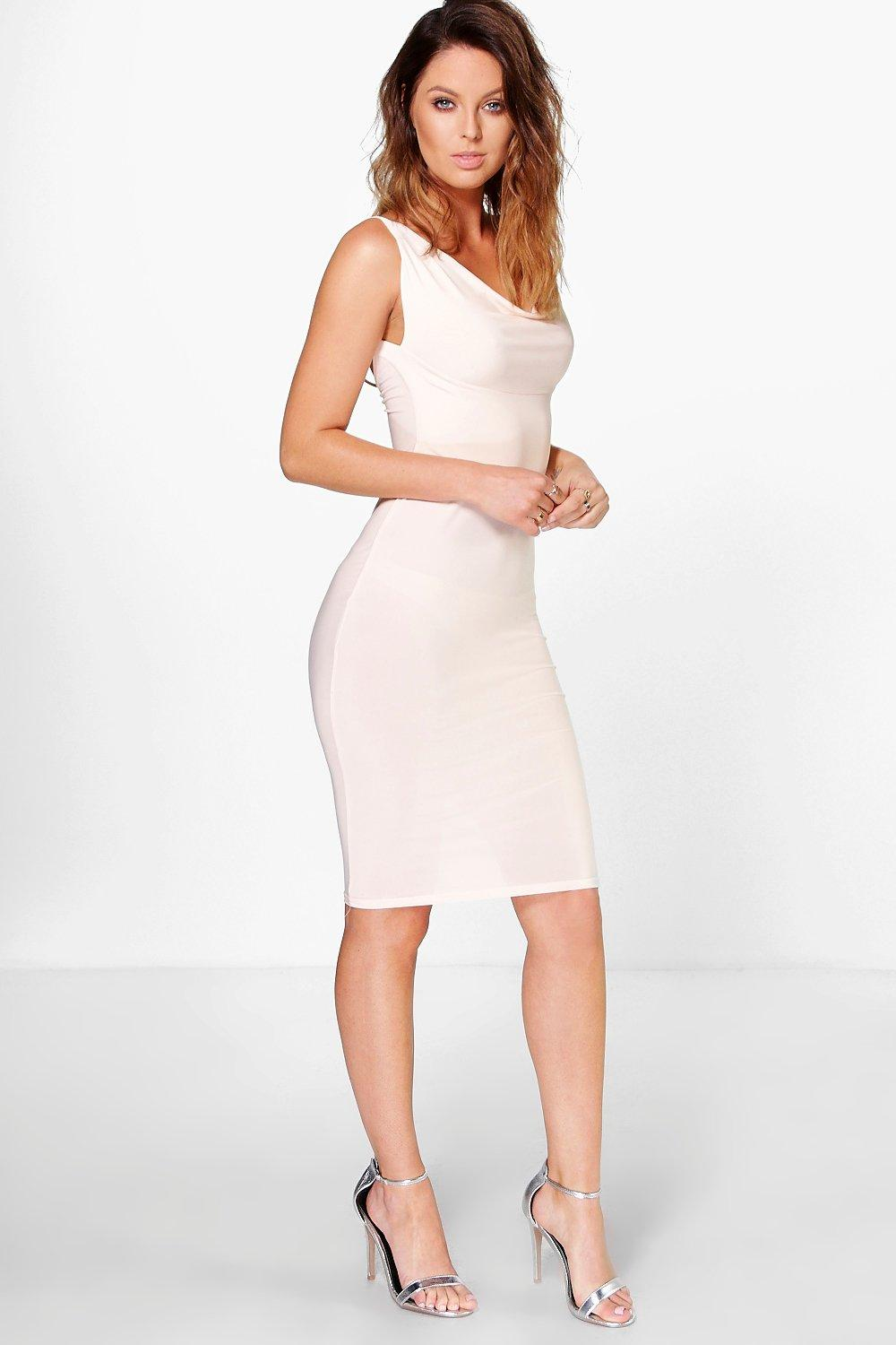 Eva Slinky Cowl Neck Cross Back Midi Dress
