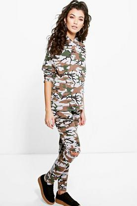 Sofia Slit Knee Hooded Camo Knitted Loungewear Set