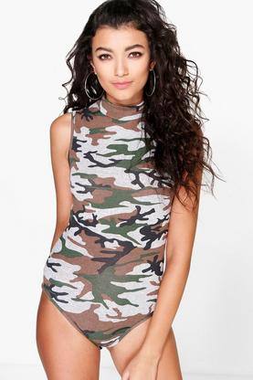 Lydia Camo High Neck Sleeveless Bodysuit