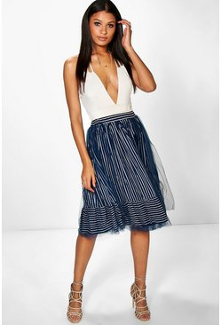 Iona Striped Tulle Overlay Full Skirt