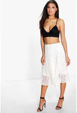 Belle Pleated Lace Full Skirt