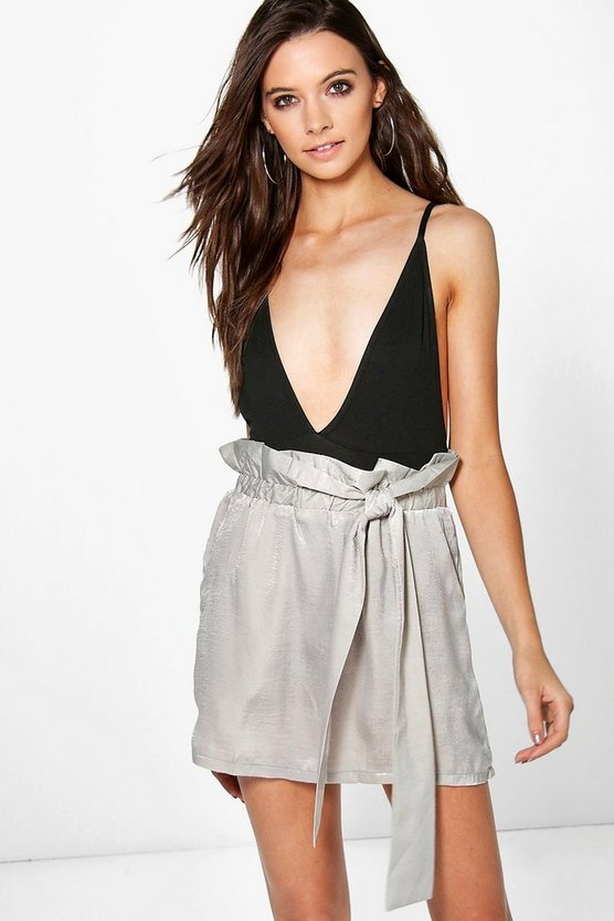 Honor Tie Waist Satin Mini Skirt