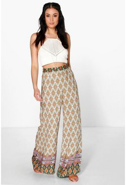 Elvia Boho Border Print Wide Leg Trousers