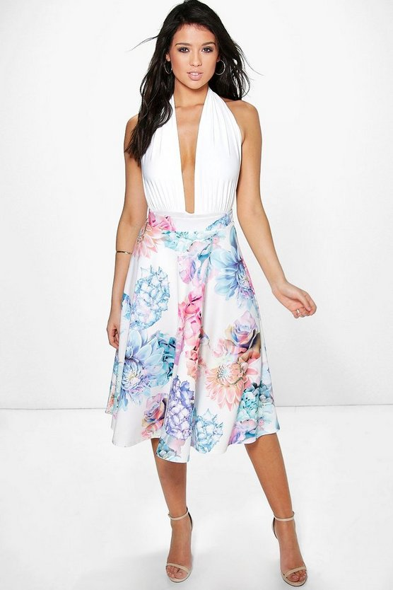 Avah Large Floral Full Midi Skirt