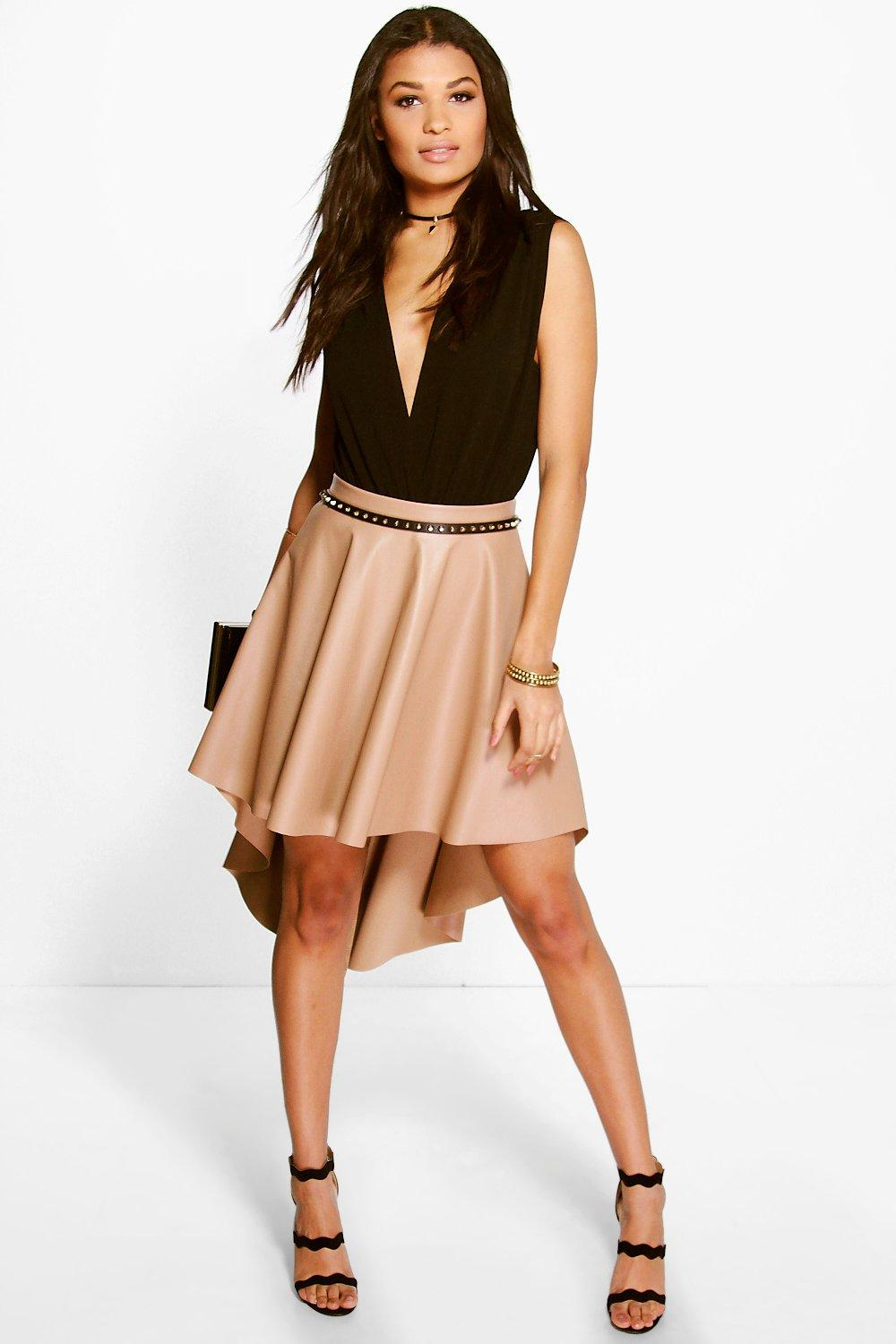 Amelle Dipped Hem Full Leather Look Midi Skirt