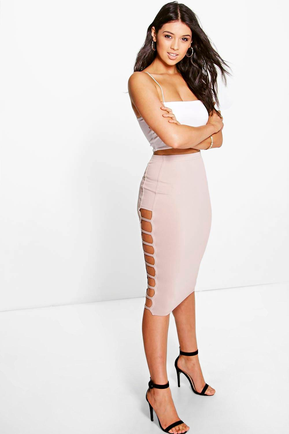 Remi Ladder Side Crepe Midi Skirt