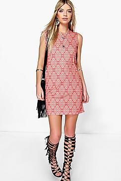 Aisha Sleeveless Boho Shift Dress