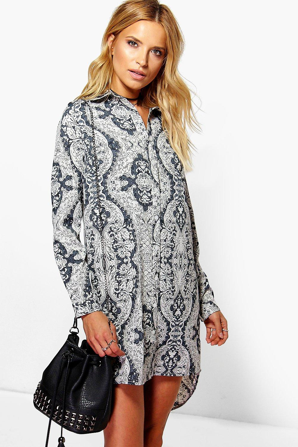 Serena Monochrome Dip Back Shirt Dress