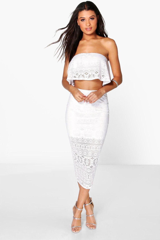 boohoo womens edna crochet top midi skirt co ord set ebay