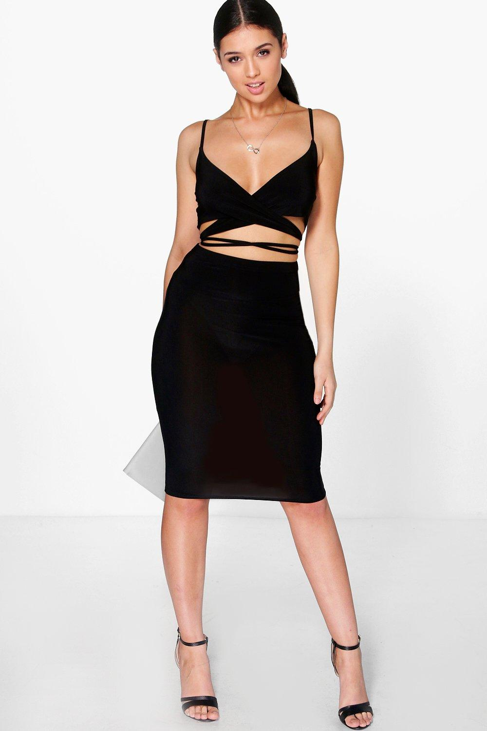 Mira Slinky Wrap Bralet & Midi Skirt Co-ord Set