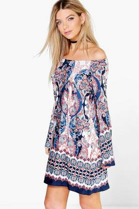 Jenna Bell Sleeve Off The Shoulder Swing Dress