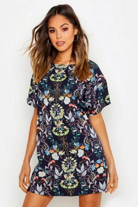 Eldora Oriental Floral Cap Sleeve Shift Dress