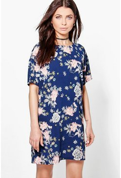 Theadora Oriental Floral Cap Sleeve Shift Dress