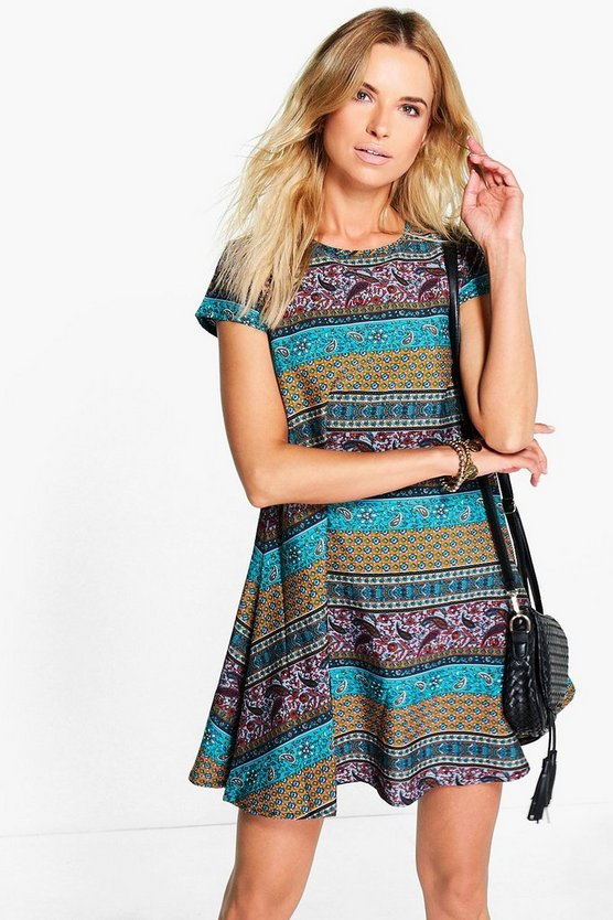 Kaureche Multi Paisley Cap Sleeve Shift Dress