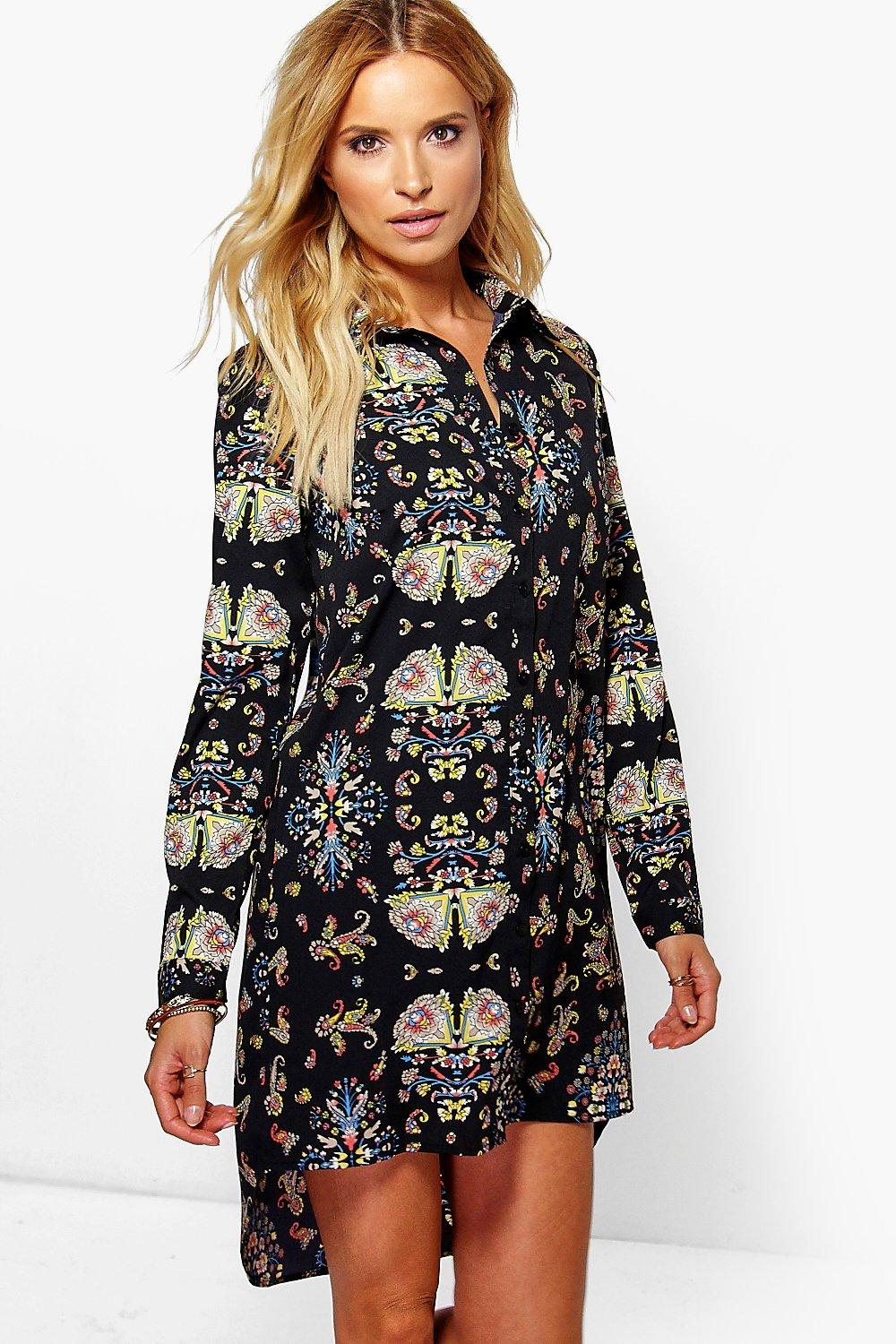 Saffron Oriental Print Dip Hem Shirt Dress