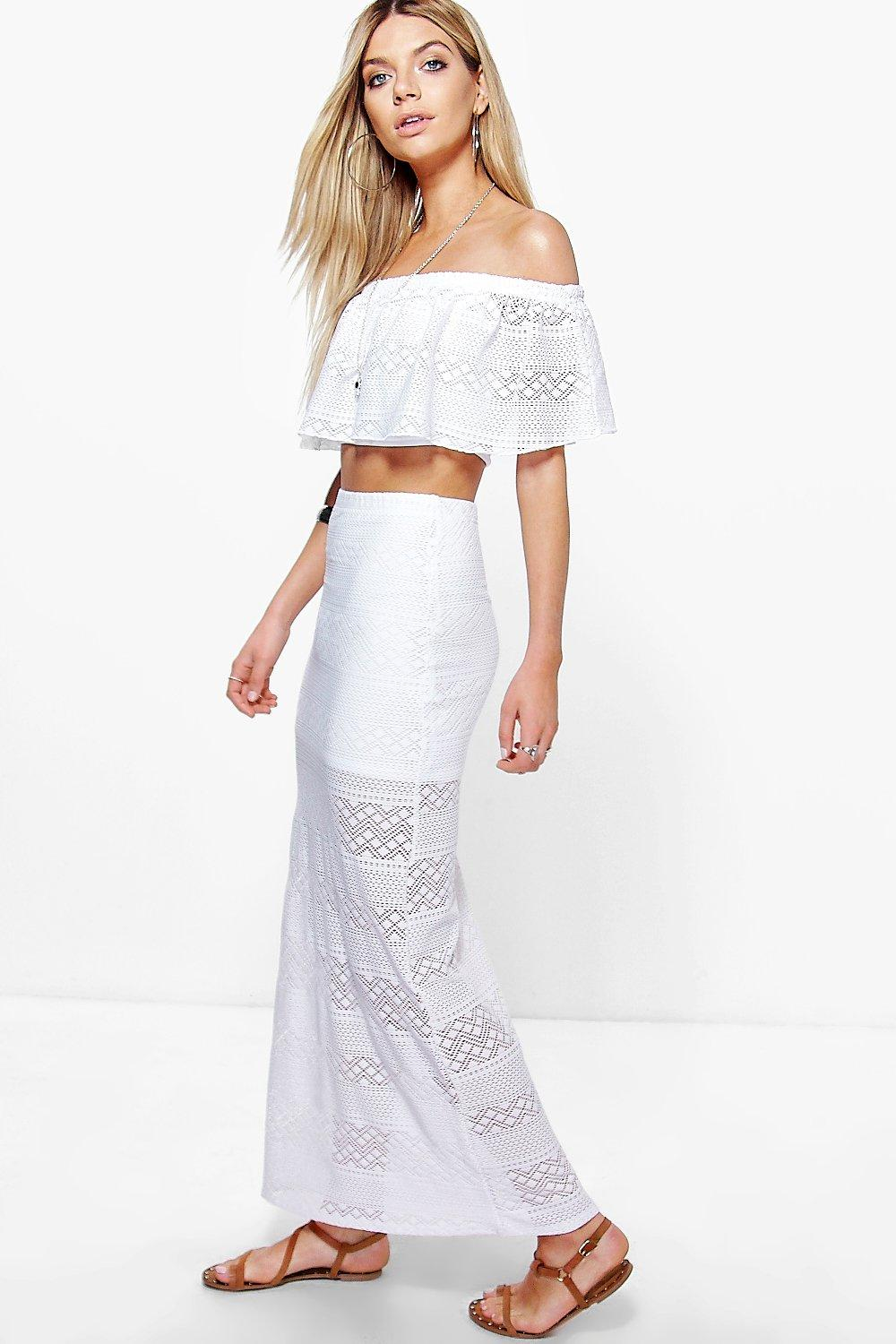 Elise Crochet Bandeau Top & Maxi Skirt Co-ord Set