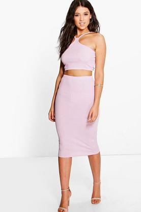 Jesca Ribbed Cut Away Top & Midi Skirt Co-Ord Set