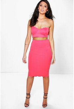 Emmeline Scallop Bralet & Midi Skirt Co-Ord Set