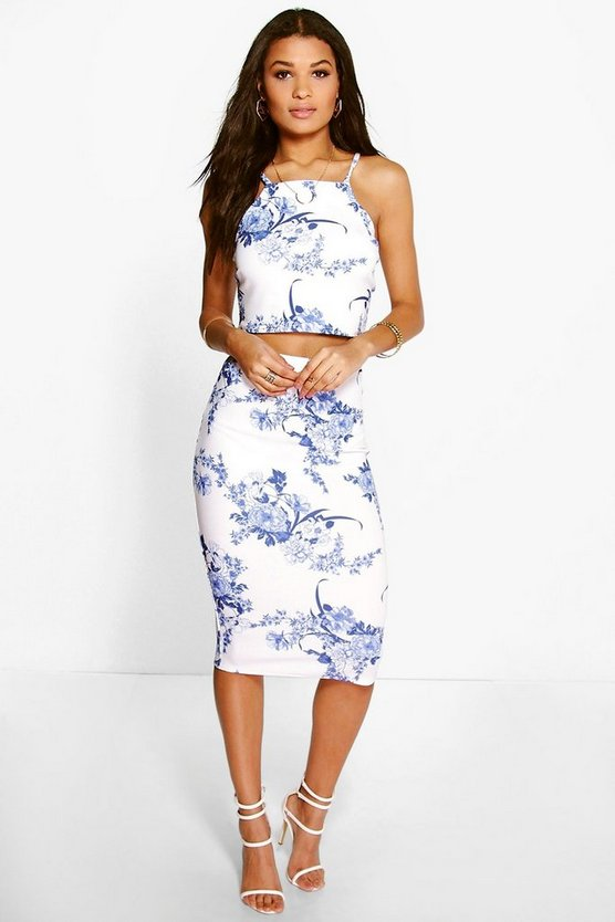 Penelope Porcelain Print Top & Midi Skirt Co-ord Set