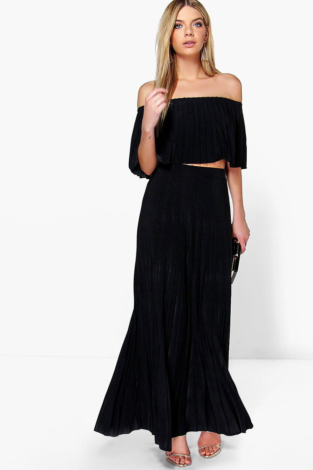 Ari Pleated Off The Shoulder Top & Maxi Co-Ord Set