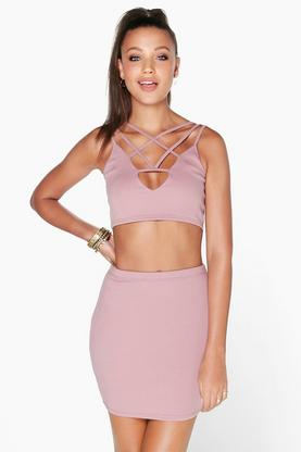 Sheeva Strappy Plunge Front Mini Skirt Co-Ord Set